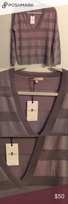 NWT SEVEN 7 For All Mankind sweater v neck grey S BRAND NEW with tags!  7 For All Mankind women's v neck sweater.  Striped, sheer and solid monochrome striping.  Greyish purple.  Merino wool.  Hand wash.  Lightweight.  Great for laying or on its own.  Designer! 7 For All Mankind Sweaters V-Necks