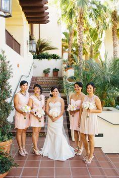 Mismatched blush bridesmaid dresses | Camille & Jason's Estancia La Jolla Wedding | Sweet Little Photographs