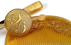 Horn and Gold Japanese KUSHI Hair Comb and Bun Stick