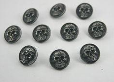 10 pcs.Zinc Gunmetal Coins Skull Head Studs by 18StudsandSpikes