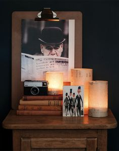 My favourite image from the whole photo shoot - the styling just happened so easily.  BOWLER HAT vintage print, LONDON SUITS picture blocks, PIANOLA SHADOW LIGHTS made from our DIY kit, all by Vintage Prints. Handmade from vintage materials.  Photo by Brenner Liana.
