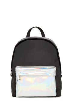 A woven backpack featuring a zippered faux leather pocket with a hologram finish, a zip-around closure, three interior slip pockets, dual adjustable shoulder straps, and a haul loop.