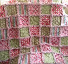 Baby Girl Rag Quilt Moda Verna Rag Quilt Blanket by flutterflybaby, $34.00