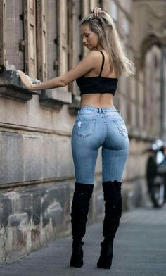 Mode Outfits, Girl Outfits, Fashion Outfits, Pernas Sexy, Looks Pinterest, Sexy Jeans, Curvy Jeans, Casual Jeans, Girls Jeans