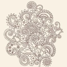 Hand-Drawn Henna Mehndi Paisley Doodle Flowers and Vines Vector Illustration Design Element Stock Photo - 8579817