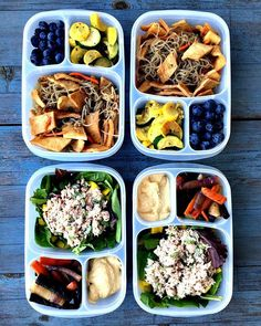 Clean and healthy, ready for this shorter week. #mealprep  Meal 1 - farmers market glass noodles with tempah (fermented black beans and brown rice), blueberries and zucchini sauté  Meal 2 - mixed greens, yellow pepper and tuna salad made with vegenaise, roasted carrot medley and hummus.