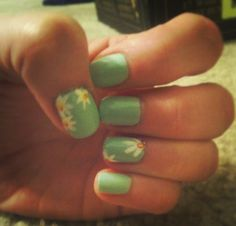 My awesome Mint Flower Power nail design created with the help of @Q-tips® cotton swabs precision tips from my @Influenster something blue voxbox!! #PTBeauty