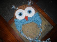 Crochet Owl Hat, Newborn to Teen Sizes, Earflap Hat