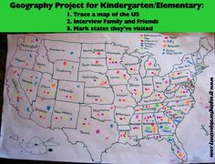 Geography Project (this post says to interview family members, but I can see using this w/Georgia 3rd grade social studies history standards- choose a color for each person and put a dot on states that were important in their lives)