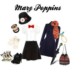 Mary Poppins, created by marybethschultz Nerd Fashion, Fashion Outfits, Mary Poppins Costume, Estilo Disney, Disney Bound Outfits, Dapper Day, Disneybound, Playing Dress Up, Halloween Costumes