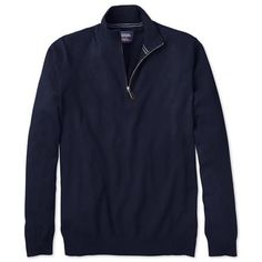 Navy cotton cashmere zip neck jumper