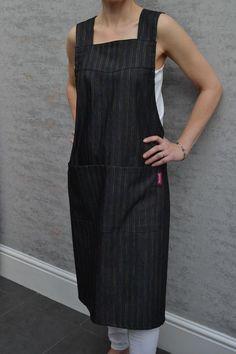 BARA Denim Japanese apron smock dress with crossover back, Pinafore Apron /Dress Apron Dress, Smock Dress, Crossover, Japanese Apron, Pinafore Apron, Smocking, Easy, Denim, Formal Dresses