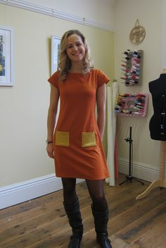 Completed Coco Paprika Dress in Knitted Fabric | Guthrie & Ghani