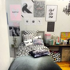Style your dorm room bed with multiple prints! http://www.dormify.com/collections/upper-east-side-collection