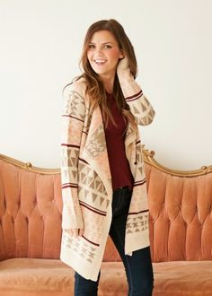 Printed Pink, Maroon and Tan Sweater Cardigan #bellaellaboutique