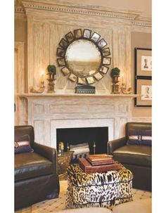 Leather chairs and animal print ottoman