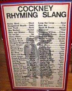 A dying language the cockney rhyming slang Rhyming Slang, British Slang, London History, British History, Old London, Vintage London, East London, Jam Jar, Idioms