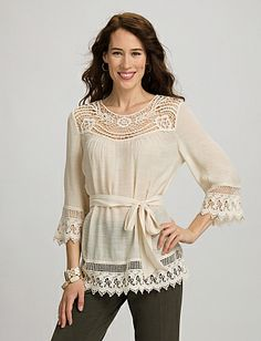 Embroidered Crochet Tunic | Dressbarn