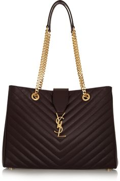 Saint Laurent|Monogramme quilted textured-leather tote|NET-A-PORTER.COM THING OF SUMPTUOSNESS