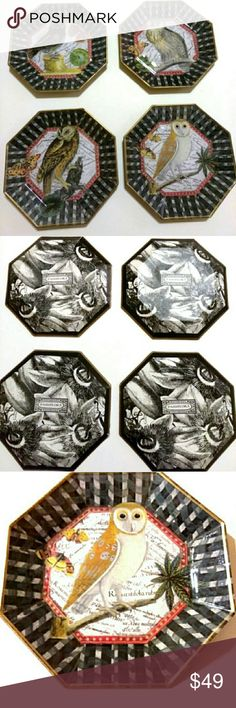 HOME DECOR Passiflora Glass Decorative Plates Set. Beautiful and unique plates featuring perched owls and butterfly.  Pre-owned with minor wear on back of one piece.  Used as decorative plates or trays.  Has black and white decoupage on back with gold trim. Passiflora Other