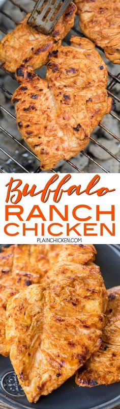 Buffalo Ranch Grilled Chicken - all the flavor of wings but without the messy fingers! This chicken is CRAZY good! Only 5 ingredients in the marinade - olive oil, Ranch, buffalo sauce, Worcestershire and garlic. Can marinate overnight for maximum flavor. Grilling Recipes, Cooking Recipes, Diet Recipes, Recipies, Buffalo Ranch Chicken, Chicken Wing Recipes, Chicken Ideas, Grilled Chicken Recipes, Marinated Chicken