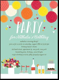 Adult birthday party invitations lush bouquet by tiny prints adult birthday party invitations lovely table by tiny prints filmwisefo Image collections
