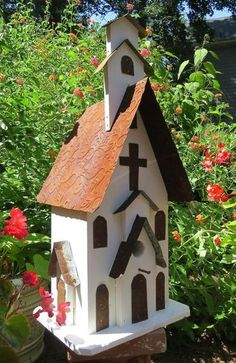 Rustic Church Birdhouse is handcrafted of barn wood and tin, attracts wrens, chickadees, nuthatches and others to nest & roost, large mission style birdhouse