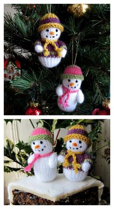 Knitted Teeny-Tiny Snowman with free Pattern