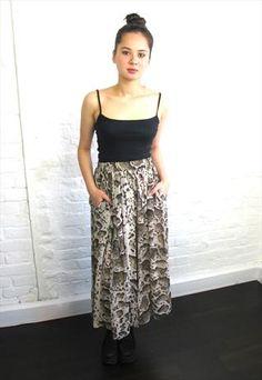 Vintage Leopard Print Midi Skirt