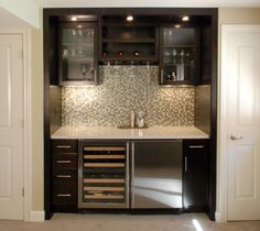 Wet bar with lower/ small upper cabinets. Looks okay - might work under beam?