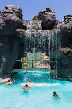The resort pool at Hilton Waikoloa Village on the Big Island of Hawaii