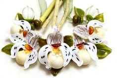 Orchid LadysSlippers Set IvoryTopas Lampwork Beads by by Jopanda. $179.00, via Etsy.