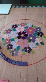 Mosaico realizado pelo atelier cacos do Ofício.This general layout could be done with pretty much any color family. I'm thinking grays and greens to go with my gray and lime green kitchen.Mosaico produzido no ateli& MosaicatoMosaico Beginning a mosa Mosaic Garden Art, Mosaic Tile Art, Mosaic Pots, Mosaic Artwork, Pebble Mosaic, Mosaic Diy, Mosaic Crafts, Mosaic Projects, Stained Glass Projects