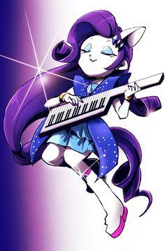 #1033254 - anthro, artist:hacha, equestria girls, keytar, nail polish, pixiv, ponied up, rainbow rocks, rarity, safe, solo - Derpibooru - My Little Pony: Friendship is Magic Imageboard
