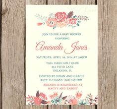 Baby Shower Invitation, Flowers  - Peach, Teal, Brown, Coral,  Vintage Style Flowers, Floral, Rustic Flowers Invitation 225