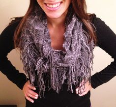 So cute #scarf #scarves #infinity #net #hanging #gray #neck #fashion #style