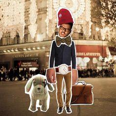 http://petitlien.fr/68z7   Beanie - Canada Goose  Bow tie - Monsieur Jean Yves  Jacket - Carven  Watch - Daniel Wellington  Camel trousers - Maison Kitsuné  Plumber bag - Bleu de chauffe  Plush - Hackett