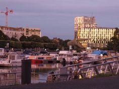 Nantes evening at Canal Saint Felix, new apartment buildings light up in the evening sun 2017