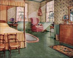 1920s colonial furniture | 1928 Armstrong Colonial Style Bedroom - 1920s Design Inspiration