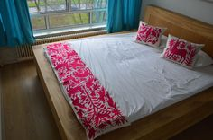Pink Bedding Set via Otomi Mexico. Cotton bed throws | 100% Organic Otomi Bedspread, otomi fabric, otomi art, otomi mexico, otomi house, arte otomi, mexican crafts, mexican blankets, mexican animal print, blue covers, www.otomimexico.com