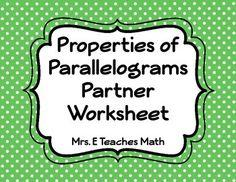 Properties of Parallelograms Color by Number | Activities