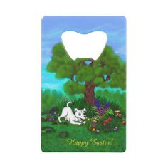 Easter - Puppy Capo and Butterfly Credit Card Bottle Opener  $13.40  by ARTKSZP  - cyo customize personalize diy idea