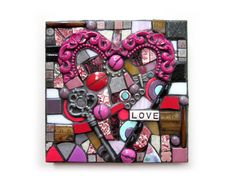 Love. (Handmade Mixed Media Mosaic Wall Hanging Assemblage Art by Shawn DuBois)