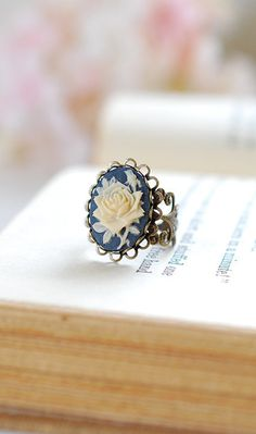 Navy Blue Ivory Rose Cameo Ring, Victorian Style Antique Brass Filigree Adjustable Ring, Cocktail Ring by LeChaim