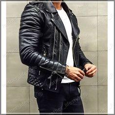 New Men/'s Genuine Lambskin Leather Jacket BLACK Slim fit Biker jacket B49