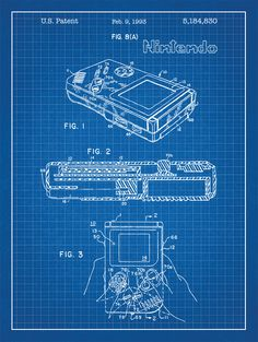 Nintendo Gameboy patent print on blue graph paper background