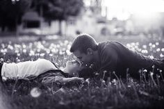 Beautiful couple photography by Brian Powers. I love how it's shot with all those puffy dandelions...