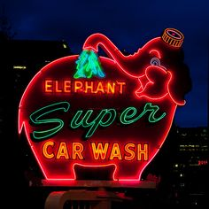 'Elephant Super Car Wash' Neon Sign: Seattle, Washington- I always park right by this sign so I can find my car later!