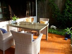 Outside dining area, with Machiato