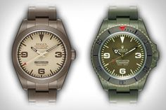Military-inspired looks. These Bamford Rolex Commando Watches take Rolex's Submariner and Milgauss models and send them through the watch equivalent of boot camp. Each of the lineups' watches features an original color scheme made possi Latest Watches, Cool Watches, Watches For Men, Luxury Watches, Rolex Watches, Bamford, Rolex Oyster Perpetual, Rolex Submariner, Watch Brands